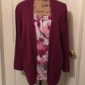 🌟Alfred Dunner Maroon/White Cardi/Cami Set Size1X